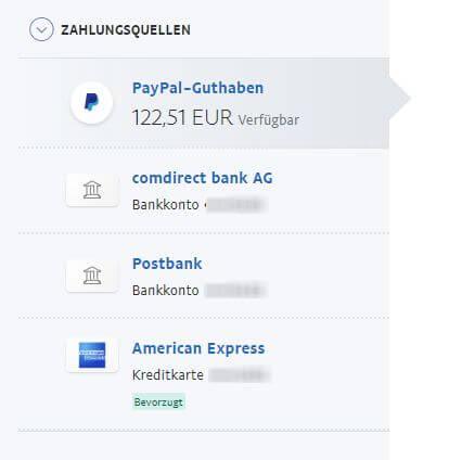 Screenshot von Paypal